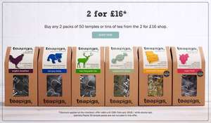 Teapigs packs of 50, 2 for £16 (£8 each). Free P&P over £35.