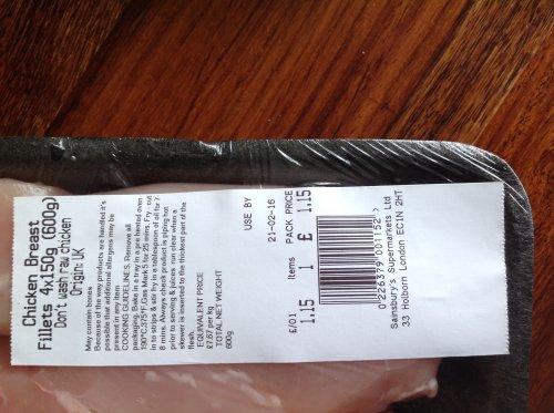 Sainsbury's 4 x150g Chicken Breast Fillets £1.15