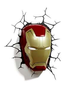 3D Marvel Led Wall Lights (Iron Man, Captain America, Thor, Spiderman, Hulk etc) from £22.98 delivered at Amazon