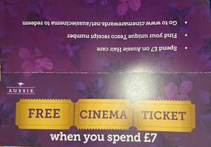 Free Cineworld Cinema Ticket when you spend £7 on Aussie Hair Care products at Tesco