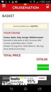 August School Hols 7 night Med Cruise - cabin for 2A 2C £562.50pp @ eurostar