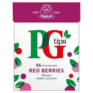 PG Tips Red Berries, Blackcurrant,peppermint, ginger and lemon, and spices and mint, herbal infusions (20 pyramid tea bags) 60p instore @ Tesco