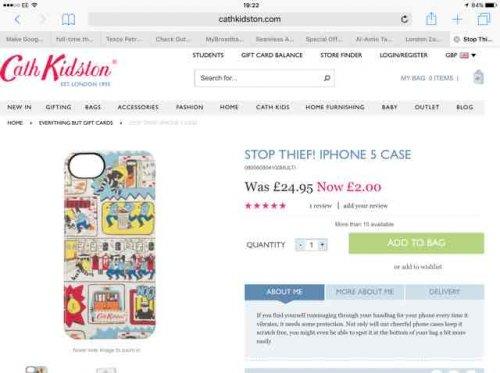 cath kidston iPhone 5 case £2