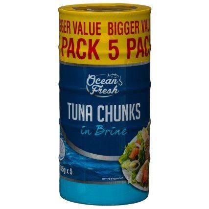 Ocean Fresh TUNA CHUNKS IN BRINE (pack of 5 x 145g) was £2.79 now £2.59 @ B&M