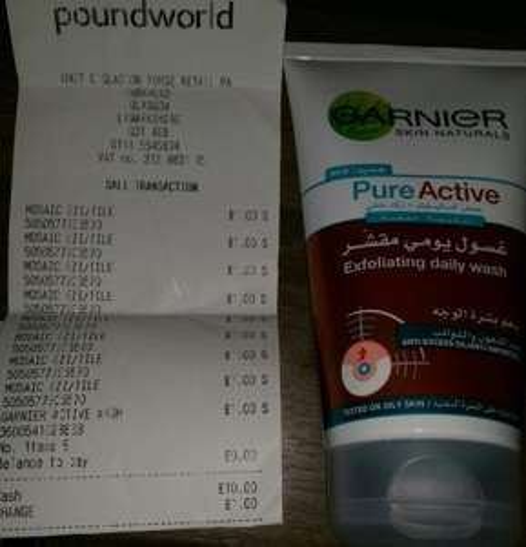 Garnier Pure Active Exfoliating Daily Wash For Blackheads, With Microbeads, Salicylic Acid & Zinc, 150ml, £1 @ Poundworld