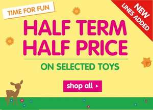 Half Term Half Price Toys @ ELC (Early Learning Centre)