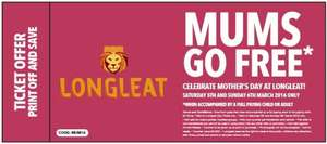 Longleat Mums go free weekend 5th-6th March code MUM16