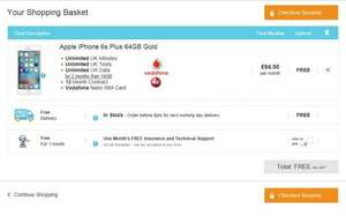 iPhone 6S Plus 64GB - Nothing upfront / Unltd texts & mins / 10GB 4G Data / £64pm x 12 = £768 @ smartphonecompany