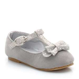 Baby Ballet Pumps with Bow in Pink or Grey (Was £25) Now from  £9.37 delivered using code at La Redoute