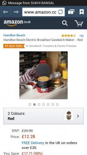 Hamilton Beach Electric Breakfast Sandwich Maker £12.28 (prime) £17.03 (non prime) at Amazon