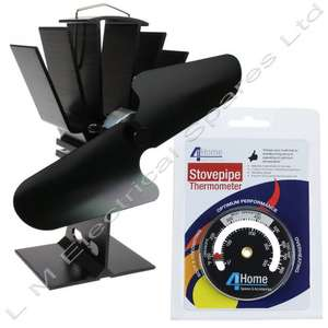 Black Heat Powered Stove Fan Wood Burner + Magnetic Stove Temp Gauge Thermometer £32.99 @ L.M ELECTRICAL / Ebay
