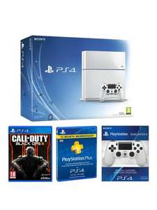 Playstation 4 500Gb White Console with Call of Duty: Black Ops 3, with Optional 12 Months Playstation Plus and/or Dual Shock Controller 4 £279.99 @ Very