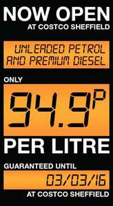 Unleaded and PREMIUM diesel only 94.9p per litre at Costco Sheffield