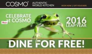 COSMO - 1 FREE birthday meal on 29/02/16 with a paying adult meal from COSMO