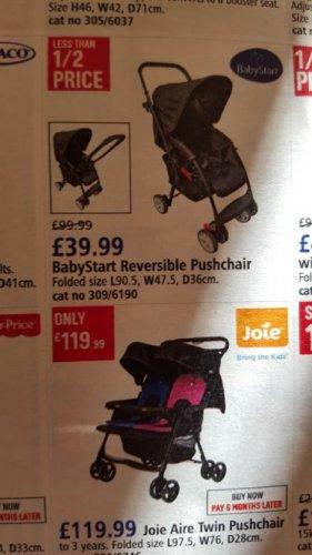 Babystart reversible pushchair.. (was £99.99) now £39.99 at Argos