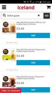 Nescafe dolce gusto pods £3.49 from Iceland
