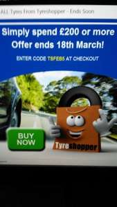 Tyre shopper 5% discount on all tyres over £200 spend