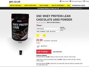 GNC Whey Protein Lean Chocolate 600g Powder £9.99 @ GNC