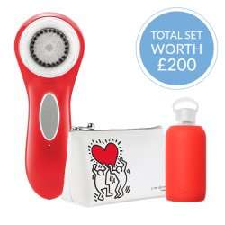 Clarisonic Aria Keith Haring Limited Edition (silver+red) with Free Wash Bag+bkr Water Bottle (worth £25)+express delivery - Currentbody.com