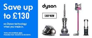 Up to £130 off Dyson when you trade in your old vacuum at Argos