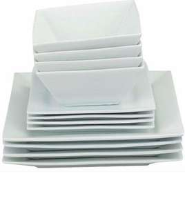 Home of Style 12 piece Porcelain Square Dinner Set - White £17.99 @ Homebase Free C&C