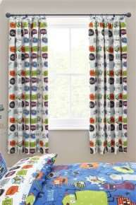 monsters printed black out pleated curtains from Next only £7 (was £45)