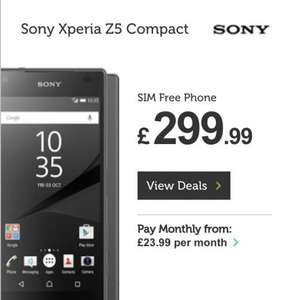 Sony Z5 Compact Black or Coral £299.99 mobilephonesdirect.co.uk