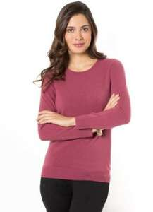 ANNE WEYBURN Crew Neck Cashmere-Soft Jumper (60% OFF) @laredoute Limited Stock (Ecru only)