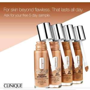Free 5 day sample of Clinique Beyond Perfecting Foundation + Concealer