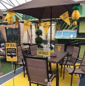 HALF PRICE Dobbies Westwood 6 Seater Tiled Top Dining Set Spotted at Atherstone (Warwickshire) store