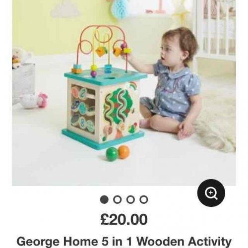 asda George 5 in 1 wooden activity baby toy 12 months half price £10 instore