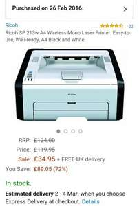 Ricoh SP 213w A4 Wireless Mono Laser Printer. Easy-to-use, WiFi-ready, A4 Black and White £34.95 @ iZilla. / Amazon