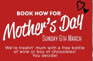 Free Bottle Of Wine or Free Chocolates for Mums dining on Mother's Day @ Frankie and Benny's