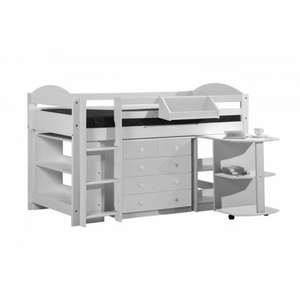Maximus Mid Sleeper Study Set In White £142.99 @ Kiddiecare