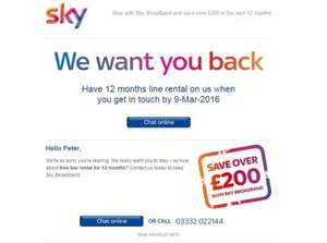 Sky Broadband - Free line rental for existing customers not in contract