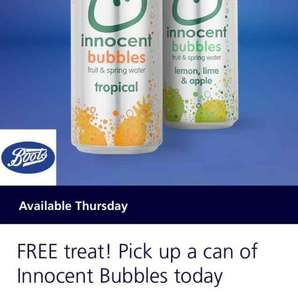 FREE treat! Pick up a can of Innocent Bubbles   with o2 priority moment code Available Thursday