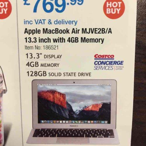 MacBook Air 13.3 £769.99 @ Costco 2 year warranty