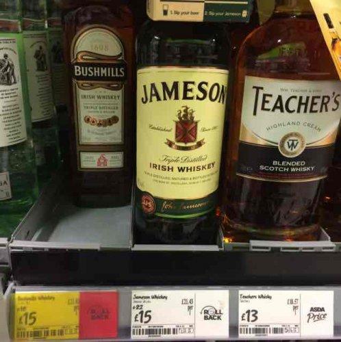 Jameson's Whiskey 70cl £15 @ Asda