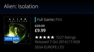 Alien: Isolation PS4 £9.99 / PS3 £7.99 on Playstation Store.