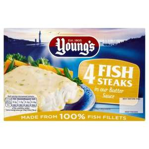 Young's 4 fish steaks, parsley or butter sauce, £1.59 at Farmfoods