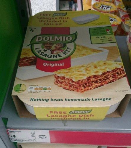 In store at Asda - Dolmio Original Lasagne Kit with free dish £4
