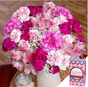 Mothers Day Bouquet with Chocolates & Card £16.99 delivered using code at Bunches