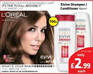 700ml of L'Oreal Elvive Full Restore Repairing Shampoo or Conditioner, also Elvive Colour Protect Shampoo or Conditioner, £2.99 @ Savers In Store