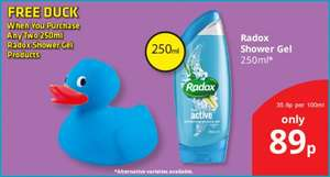SAVERS: IN-STORE: Radox Shower Gel (250ml): £0.89 - FREE Duck When You Buy Two