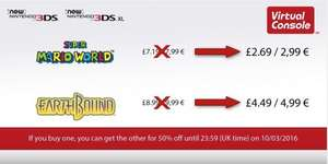 SNES games for New 3DS only @ Nintendo eShop. Buy one, get other half price for £2.69 or