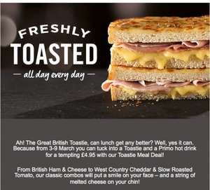 Toastie Meal Deal (Toastie and a Primo Hot Drink) £4.95 @ CostaCoffee