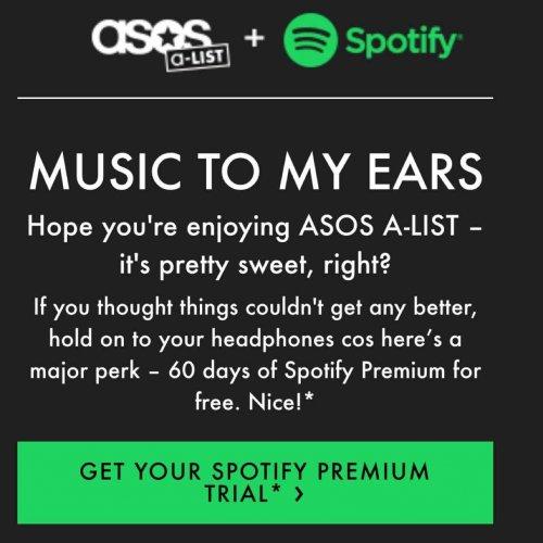 Asos offering 2 months free Spotify premium