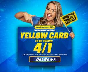 Get a crazy 4/1 on there being a yellow card shown in the Tottenham V Arsenal game this weekend with Coral! (New customers only / Winnings paid in form of a free bet)