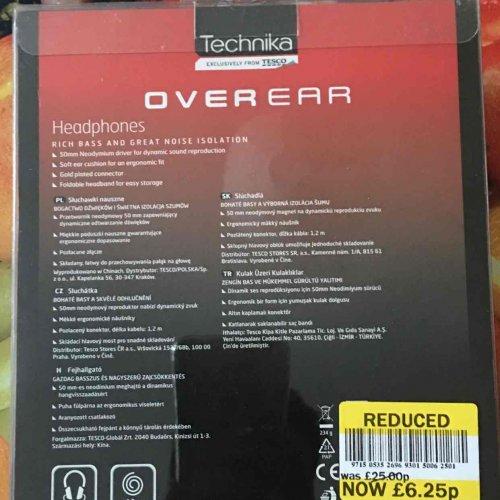 Technika overEar headphones was £25 £6.25 @ tesco