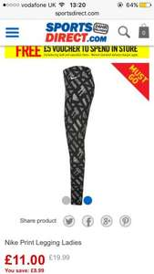 Nike women print leggings (XS only) @sportsdirect - £11 + £4.99 c&c but you get £5 in store voucher when you collect them @ Sports direct
